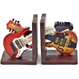 Bellaa 26249 Bookends Vintage Guitar Music Books Holder Gifts