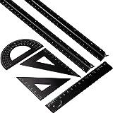 Leinuosen 6 Pieces Aluminum Triangular Architect Scale Ruler Set, 2 Pack 12 Inch Aluminum Scale Ruler with 4 Pieces Aluminum