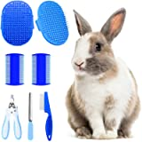 Hzran 6 Pieces Rabbit Grooming Kit, Pet Hair Remover, Rabbit Grooming Brush, Shampoo Bath Brush, Small Animal Nail Clippers a