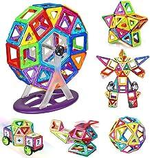Kingstar マグネットおもちゃ ブロック 磁気おもちゃ 磁性構築ブロック 磁石ブロック 男の子 女の子 子ども オモチャ 子供 立体パズル 幼児 オモチャ 積み木 DIY マグネットブロック 車/かんらんしゃセット 磁気構造 想像力/創造力育てる 贈り物 誕生日 出産祝い ギフト 入園 プレゼント