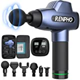RENPHO Massage Gun Deep Tissue, Muscle Massagers, Powerful Handheld Quiet Percussion Massager with 20 Speed Levels 6 Heads, F