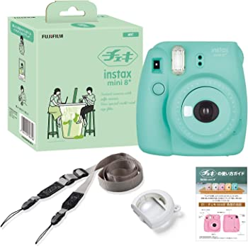 FUJIFILM インスタントカメラ チェキ instax mini8プラス 接写レンズ・純正ショルダーストラップ付き ミント INS MINI 8PLUS MINT