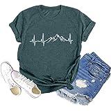 Chulianyouhuo Mountain Heartbeat Graphic Shirts for Women Funny Hiking Shirt Casual Camping Travel Tee Tops