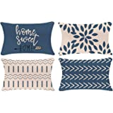 YCOLL Pillow Covers 20x12 Set of 4, Modern Sofa Throw Pillow Cover, Decorative Outdoor Linen Fabric Pillow Case for Couch Bed
