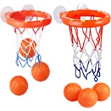 KISEER 2 Pack Fun Basketball Hoop with Heavy Duty Suction Cups Bathroom Bathtub Shooting Game Balls Toy Set with 6 Balls for