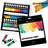 Ohuhu Watercolor Paint Set By 24 Premium Quality Art Watercolors Painting Kit (12 Ml, 0.42 Oz.) With 6 Painting Brushes For A