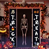 Halloween Decorations Outdoor,Trick or Treat Set includes Trick or Treat Banner for Front Door Display and Double Sided Scary