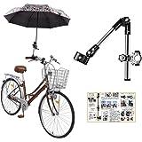 (ポジティブ) コンパクトに折りたためる 自転車 傘スタンド ベビーカー 傘スタンド (1.ブラック(説明書付))