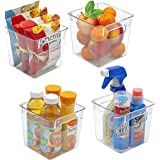 Sorbus Storage Bins Clear Square Plastic Organizer Container Holders with Handles – Versatile for Kitchen, Refrigerator, Cabi