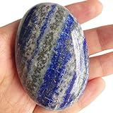 Loveliome Lapis Lazuli Polished Stones, Oval Palm Pocket Healing Crystal Massage Spa Energy Stone