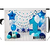 LB Blue Birthday Backdrop For Photography 7X5Ft Kids Boys Birthday Party Background Balloon Paper Flowers White Brick Wall Wo