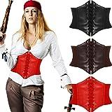 3 Pieces Lace Women Corset Belts Elastic Wide Band Retro Tied Waspie Waist Belt, Black, Brown, Red