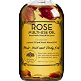 Rose Multi-Use Oil for Face, Body and Hair - Organic Blend of Apricot, Vitamin E and Sweet Almond Oil Moisturizer for Dry Ski