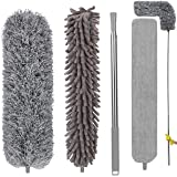 Feather Duster with 3 Brush Head 2.5 Meters' Extra Long Extension Pole, Bendable Extendable Duster for Cleaning High Ceiling,