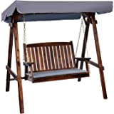 Outdoor Swing Chair, Gardeon 2 Seater Garden Hanging Chair Wooden Bench Outdoor Furniture with Canopy and Removable Cushion-C