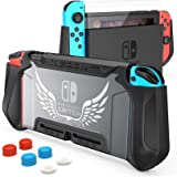 Nintendo Switch Case Dockbale with Screen Protector and 6 Thumb Stick Caps, HEYSTOP TPU Protective Cover Case for Nintendo Sw