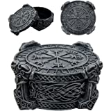 Atlantic Collectibles Norse Mythology Thor Mjolnir Hammer Vegviser Magical Talisman Compass Jewelry Trinket Box Figurine 5L