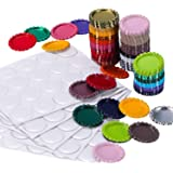TecUnite 100 Pieces Flattened Bottle Caps in Double Sides Printed Mixed Colors and 100 Pack 1 Inch Clear Stickers for Photo P