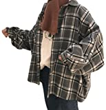 (ニカ)レディース シャツ チェック柄 長袖 韓国風 トップス 綿 コットンシャツ