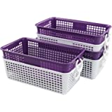 Readsky Plastic Small Rectangle Hollow Storage Baskets, Purple and White with White Circles, 6 Packs