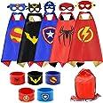 RioRand Superhero Capes 5PCS Kids Costumes with Masks and Slap Bracelets Original Logo for Boys Dress Up Party Favors - Multi