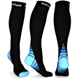 Physix Gear Compression Socks for Men & Women 20-30 mmhg, Best Graduated Athletic Fit for Running Nurses Shin Splints Flight
