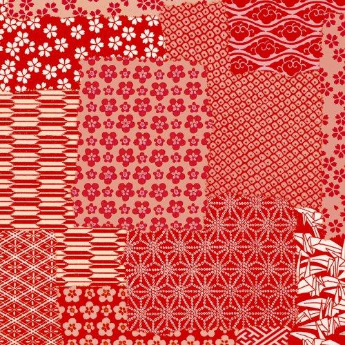 ササガワ包装紙 半才判 千代紙合わせ 赤 49-1715 1袋(50枚) ササガワ