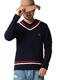 Fred Perry x Beams Wool Cotton Cricket Sweater 11-15-0566-060: Navy