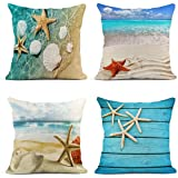 ArtSocket Set of 4 Throw Pillow Covers Starfish and Seashell Summer Beach in Sea Water Time Caribbean Decor Linen Pillow Case