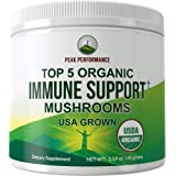 Top 5 USDA Organic (USA Grown) Immune Support Mushroom Powder Extract by Peak Performance. Vegan Supplement Blend with Reishi