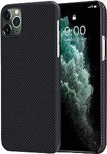 「PITAKA」 iPhone 11 Pro 対応 ケース Air Case 高級なカーボン風 超薄(0.6mm) 超軽量(9g) 600Dアラミド繊維製 5.8インチ 薄型 ミニマリスト シンプル デザイン iPhone 11 Pro 対応 カバー (黒/グレ-ツイル柄)
