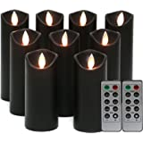 Kitch Aroma Black flameless Candles, Black Candles Battery Operated LED Pillar Candles with Moving Flame Wick with Remote Tim