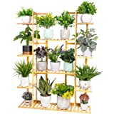 unho Bamboo Tiered Plant Stand, Large Plant Shelf 9 Tier Plant Pot Stand Ladder Garden Shelves Indoor Outdoor Plant Display S