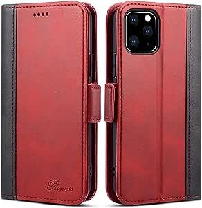iphone 11 pro ケース 手帳型 - Rssviss アイフォン iphone 11 pro 手帳 カバー Qi充電対応 サイドマグネット カード収納 スタンド機能付き 保護力 PUレザー レッド【5.8inch】