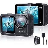 XTU S3 アクションカメラ 4K 30fps 20MP EIS2.0手ぶれ補正 顔認識付き ウェアラブルカメラ 小型 アクションカム 水中カメラ スポーツカメラ 本機防水 外部マイク付き WIFI搭載 リモコン付き HDMI出力 170度広角