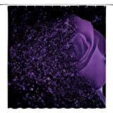 AMFD Purple Rose Shower Curtain Fantasy Dream Flower Magic Glamorous Black Bathroom Decor Polyester Fabric Water Repellent Mi
