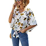 Women's Casual V Neck Floral Top Bell Sleeve Tie Front Tee Shirt Blouse
