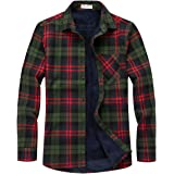 chouyatou Men's Casual Long Sleeve Fleece Lined Plaid Flannel Overshirts Jacket