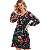Milumia Women's Vintage Boho Floral Print High Waisted Belted Wrap Dress