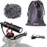 BOYA BY-MM1 Shotgun Video Microphone with Shock Mount, Deadcat Windscreen, Case compatible with iPhone/Andoid Smartphones, Ca