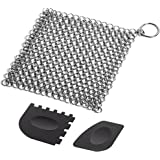 Cast Iron Cleaner with Durable Plastic Pan Grill Scrapers SENHAI 7 x7 inch Stainless Steel Chain Scrubber for Skillets Griddl