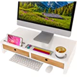 Computer Monitor Stand with Drawers - White Wood Laptop Screen Printer TV Riser 22.05L 10.60W 4.70H inch, Desk Organizerin H