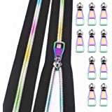 VOC Zippers #5 Zippers for Sewing,Rainbow Teeth Nylon Zipper by The Yard Black Zipper Tape with 10PCS Pulls for Tailor Sewing