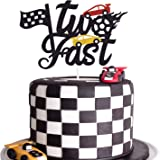 Two Fast Cake Topper Race Car Theme 2nd Birthday Cake Decoration Chequered Flag Themed Party Supplies Decorations(Doubled-Sid