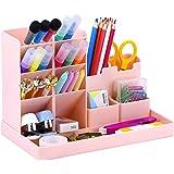 Cute Vertical Pen Organizer, Kawaii Desk Organizer Pen Holder Stationery, Marker Pencil Storage Caddy Tray for Office, School