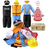 Sinuo Boy's Dress Up Costumes Set, Role Play Set 12-pcs Dress Up Trunk Pirate, Chef, Construction Worker, Policeman Costume F