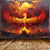 JAWO Fantasy World Tapestry Wall Hanging, Golden Red Burning Phoenix Volcanic Ancient Mystic Animal Birds Hippie Tapestries D