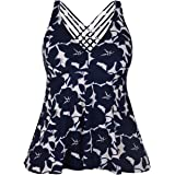 Firpearl Women's Swimwear Tie Front Swimsuit Retro Tankini Top with Floral Print