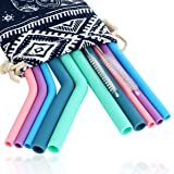 10 Pcs Reusable Silicone Straw and 2 Pcs Cleaning Brush, Food-graded FDA Approved Silicone Drinking Straws for 20/30 oz Tumbl