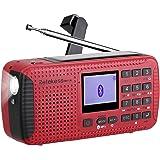 Retekess HR-11 Weather Radio AM FM Radio Emergency Radio Solar Power Dynamo Hand Crank with Wireless MP3 Player Digital Recor